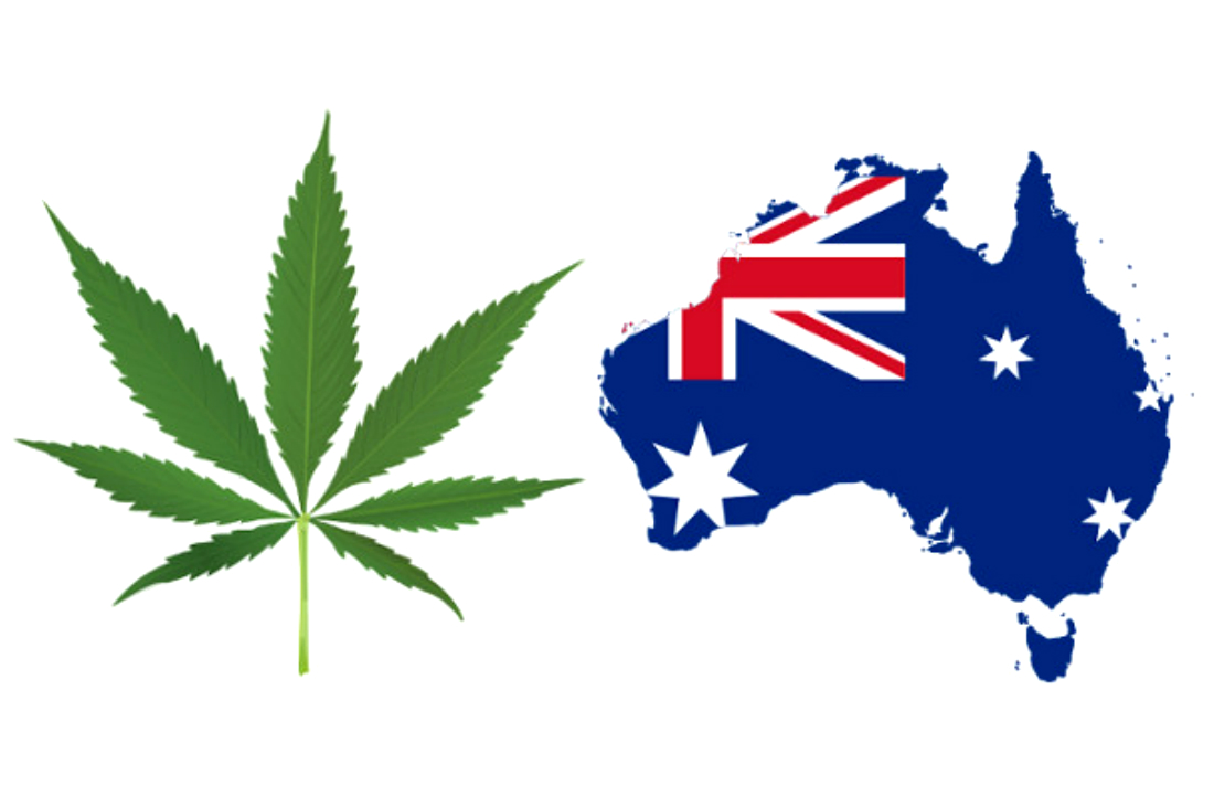 Australia country and weed leaf