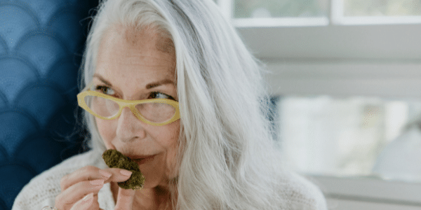 A-woman-smelling-weed