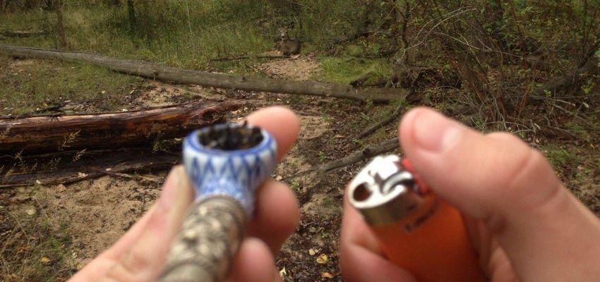 smoking weed while camping